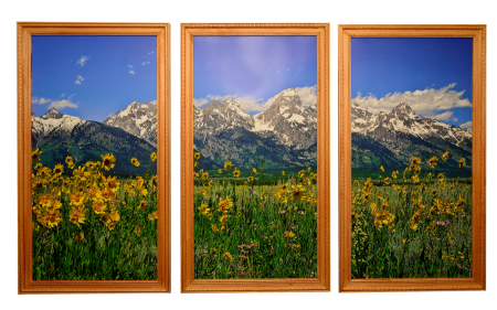 Tetons Triptych with Custom Pecan Finished Frames
