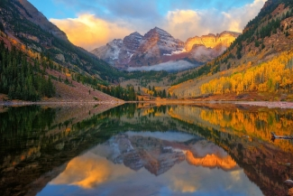 Morning beneath Maroon Bells