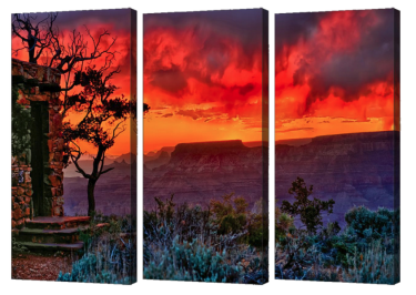 Watchtower Stormy Sunset Triptych