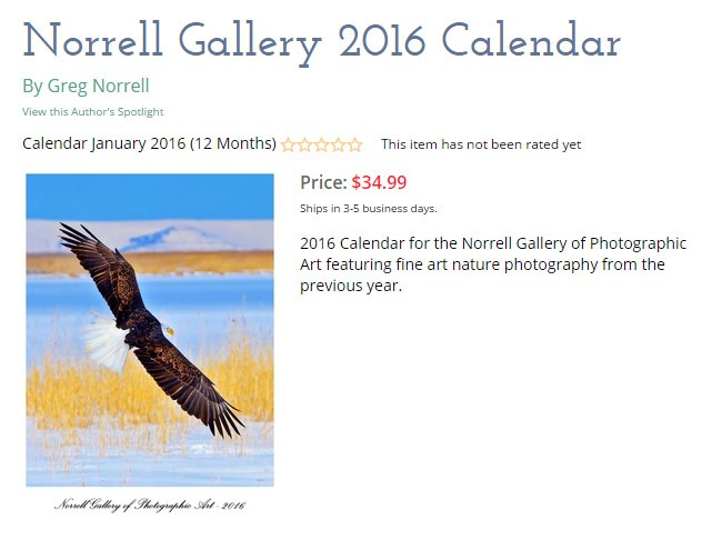 2016 Calendar from the Norrell Gallery of Photographic Art