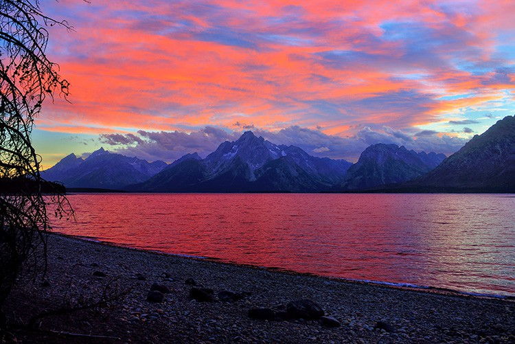 Colorful sunset along Jackson Lake in Grand Teton National Park