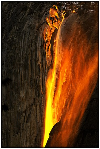 Horse Tail Fall glowing at sunset in Yosemite National Park
