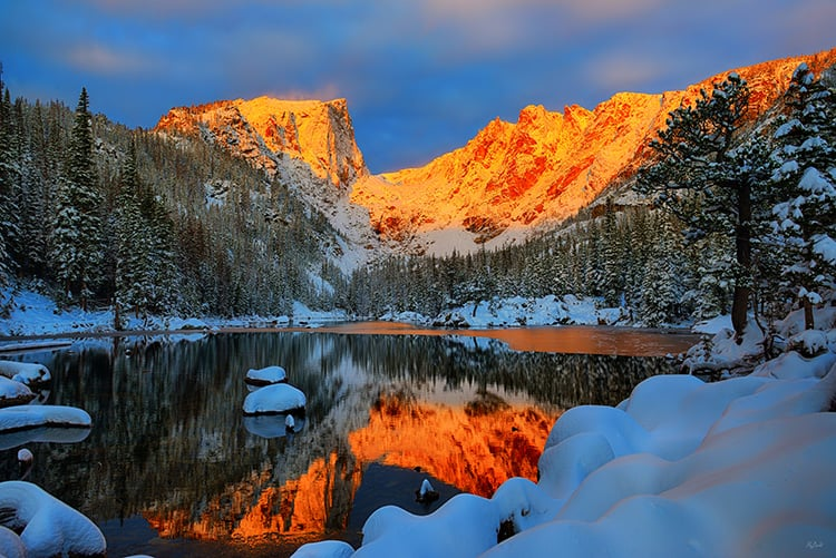 Dawn on Dream Lake on a snowy morning in Rocky Mountain National Park